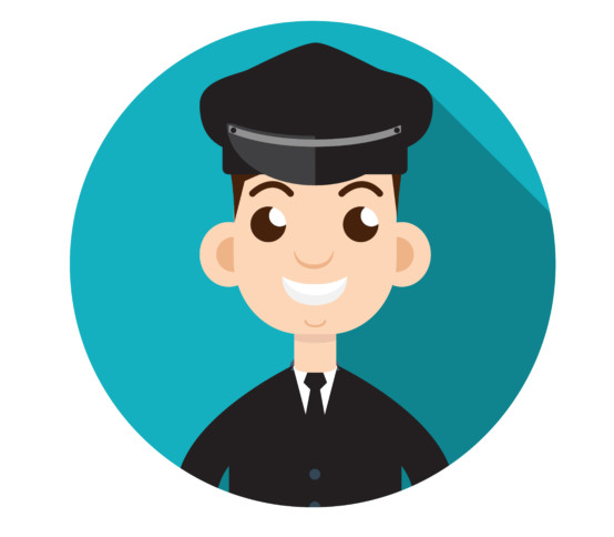 Limo driver. Limousine driver icon. Flat style. Vector illustration